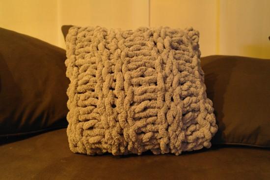 coussin tricoté aiguilles 18 fil Rumba Phildar