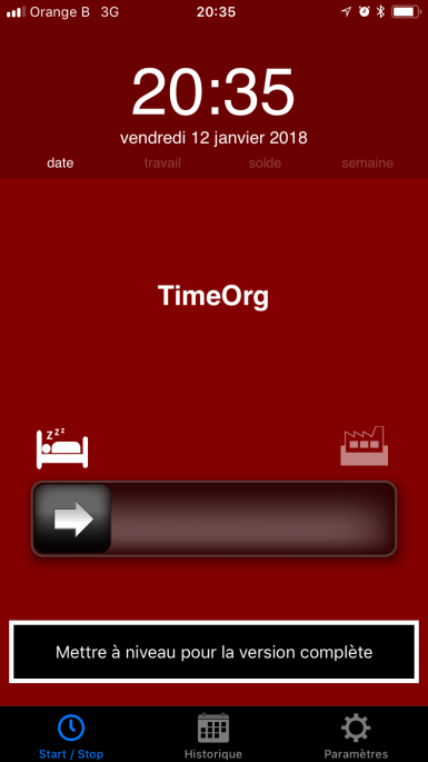 application timeorg écran d'accueil