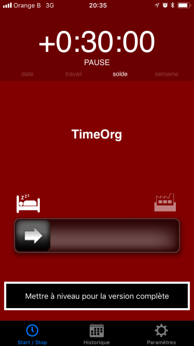 application timeorg écran journalier