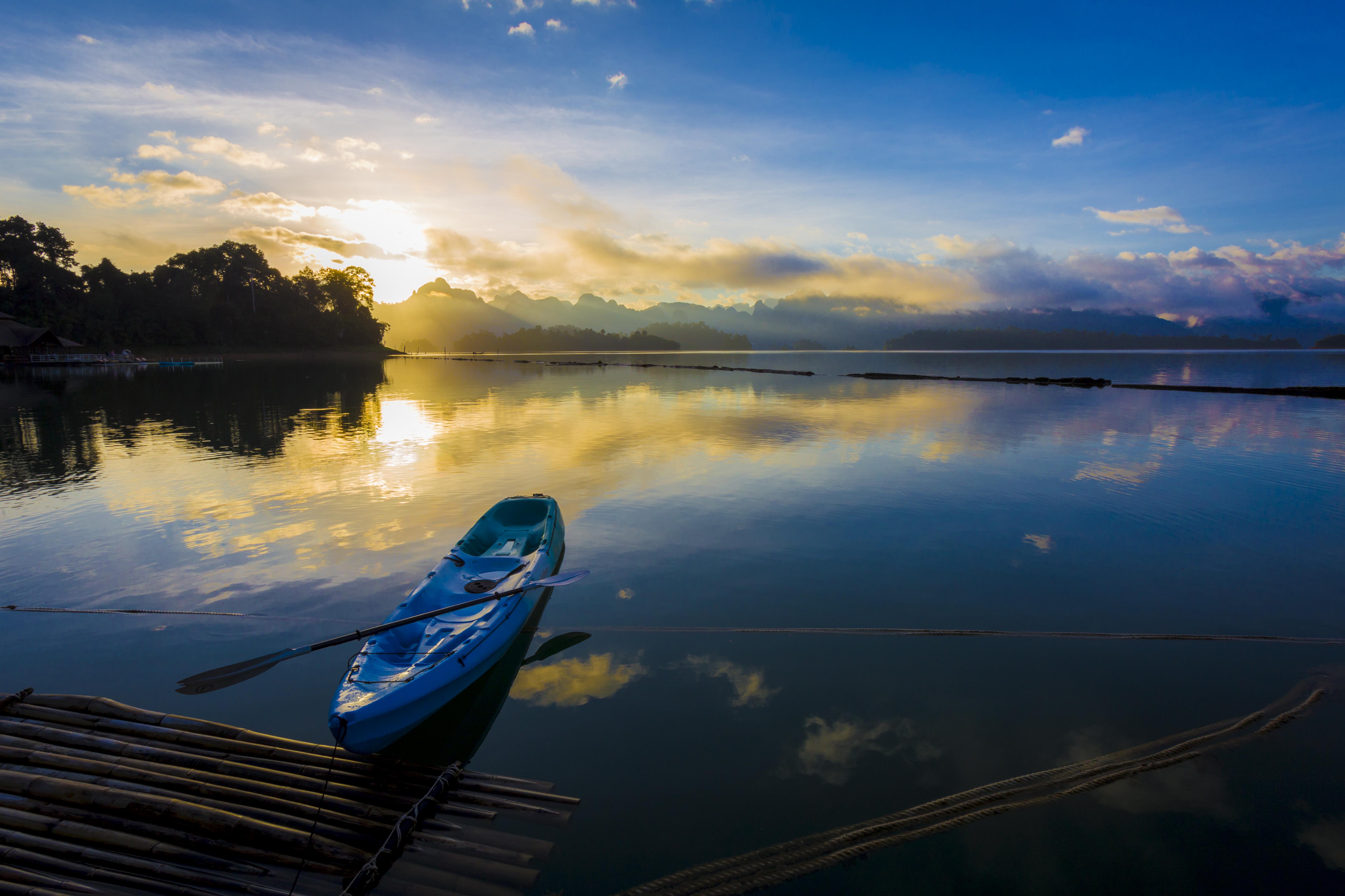 Sunrise at Ratchaprapha Dam or Chieo Lan Dam, Khao Sok National Park, Surat Thani