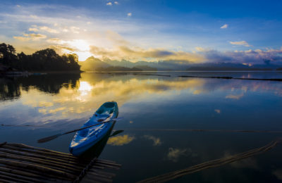 Sunrise at Ratchaprapha Dam or Chieo Lan Dam, Khao Sok National Park, Surat Thani