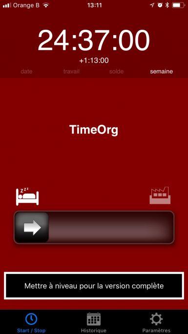 application timeorg écran semaine