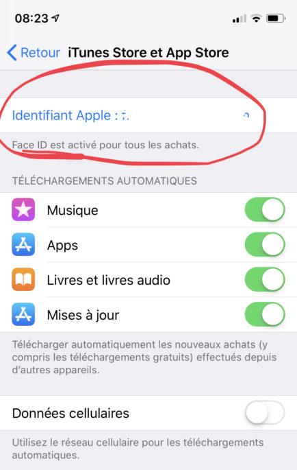 cliquer sur l'identifiant apple