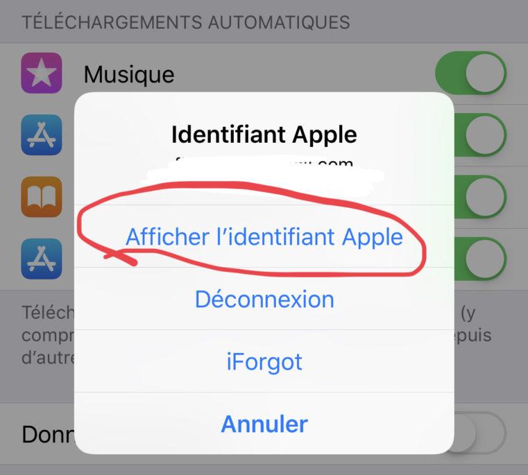 cliquer sur afficher l'identifiant apple