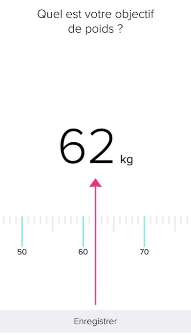objectif de poids dans Fitbit